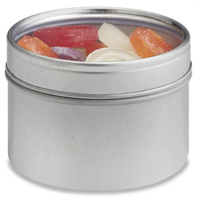 Example of a spice can with a see through lid. Most have a magnet attached so you can store them on the side of your refrigerator or on your stove's hood.